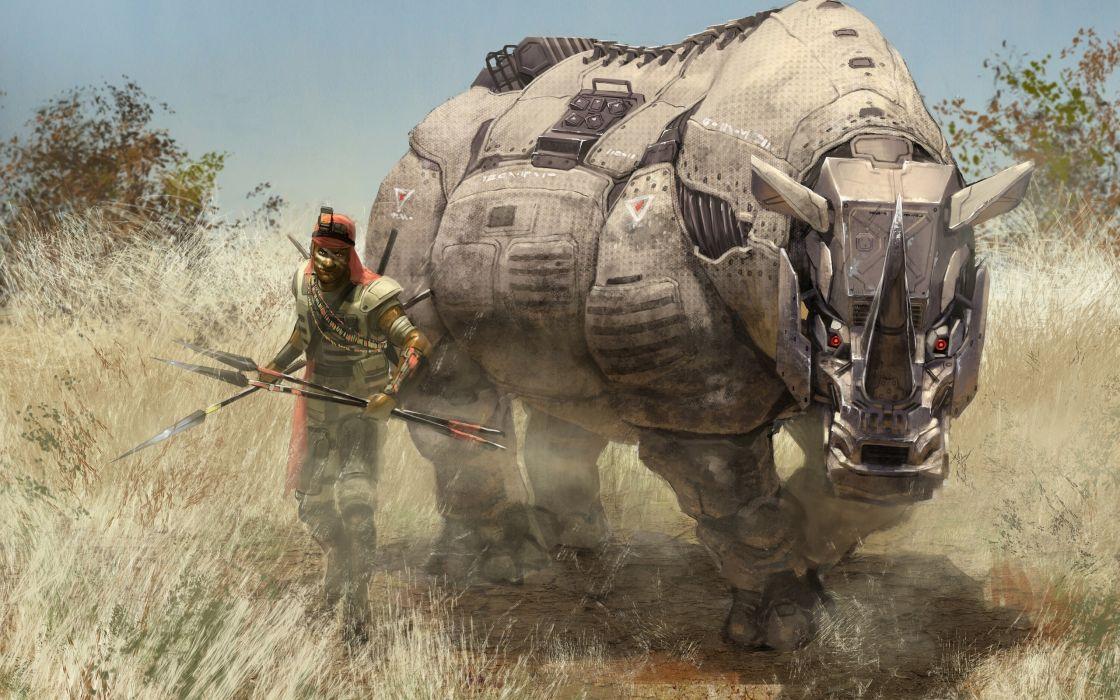 rhino robots warrior robot steampunk wallpaper