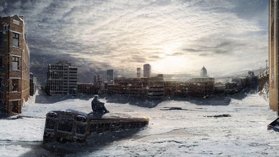 Apocalypse apocalyptic winter snow city wallpaper