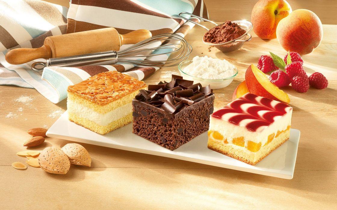 Cake Fruit Chocolate Dessert Wallpaper