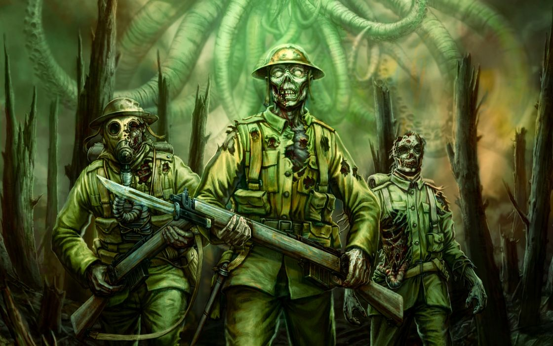 Call of Cthulhu Zombies Green Soldiers fantasy wallpaper
