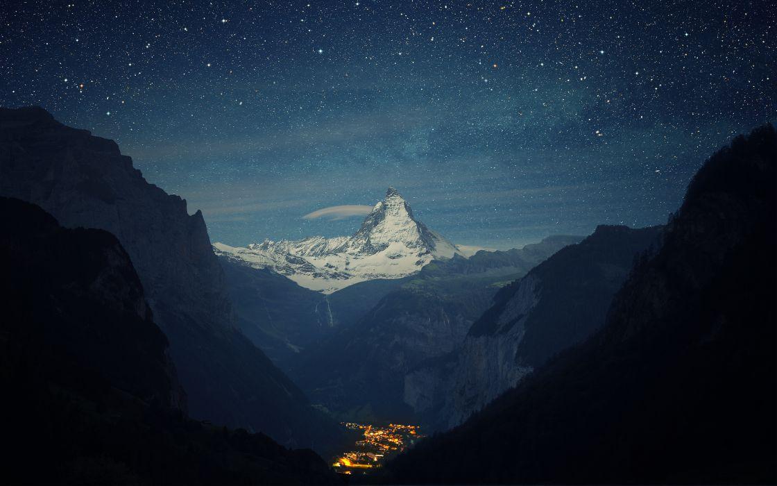 Matterhorn Mountain Night Stars Landscape Town Valley wallpaper