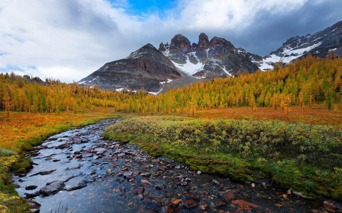 Mountains Landscape Stream autumn wallpaper