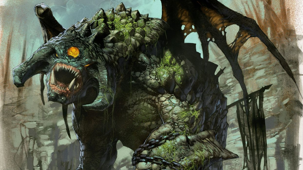 Pacific Rim Giant Monster Creature Drawing sci-fi fantasy wallpaper