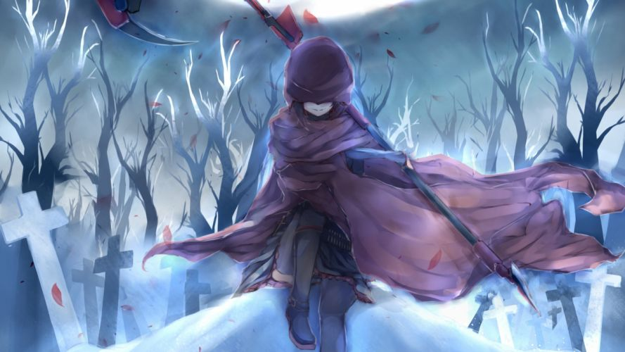 unknown Anime Drawing Cemetery Cross wallpaper