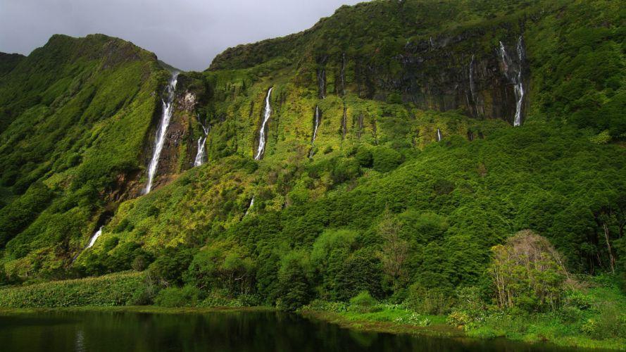 Waterfall Jungle Mountain wallpaper