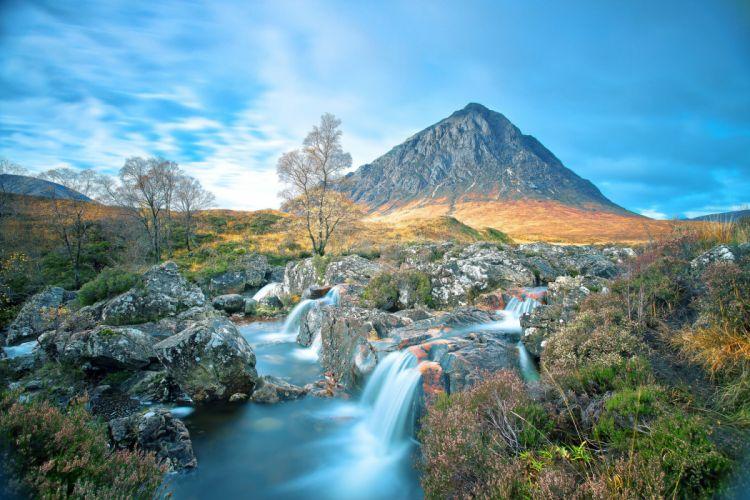 landscape mountain waterfall sky wallpaper