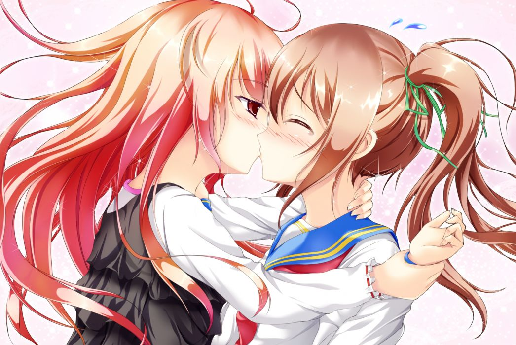 original girls blush brown hair hiro kiss original pink hair red eyes seifuku twintails yuri wallpaper