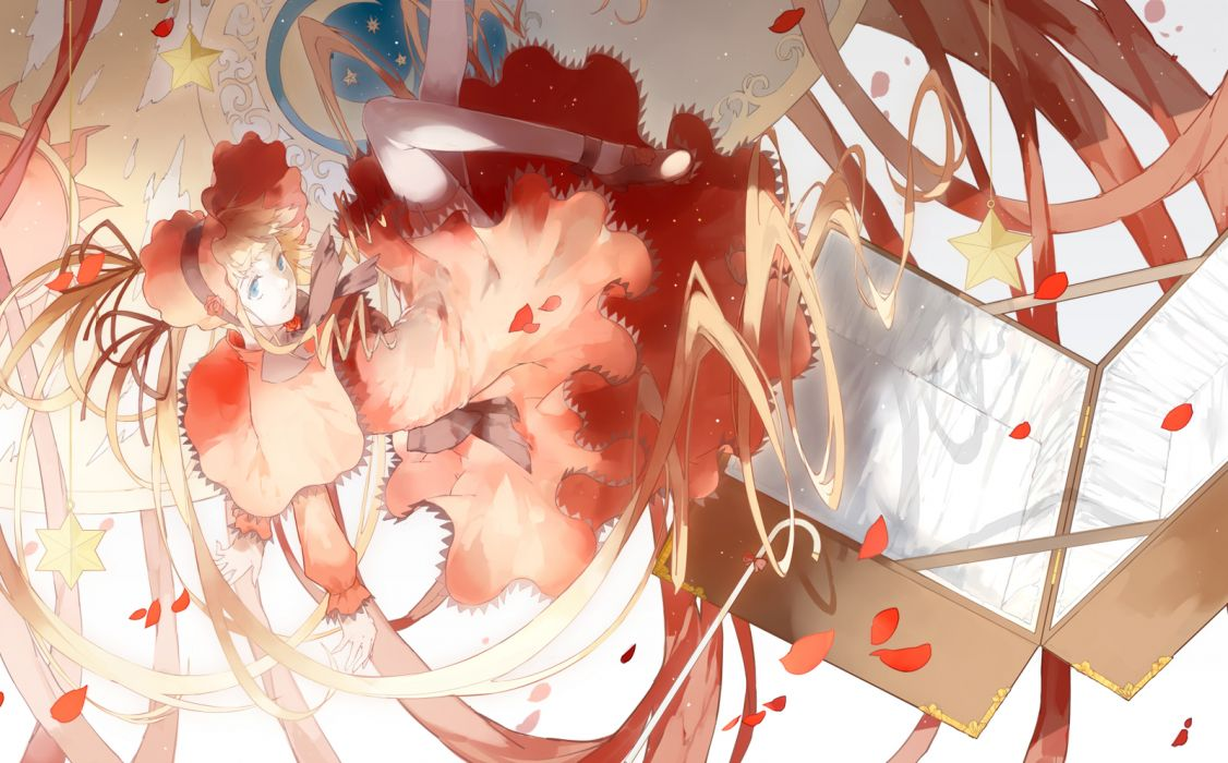 rozen maiden blonde hair lolita fashion long hair nine shinku stockings thighhighs wallpaper