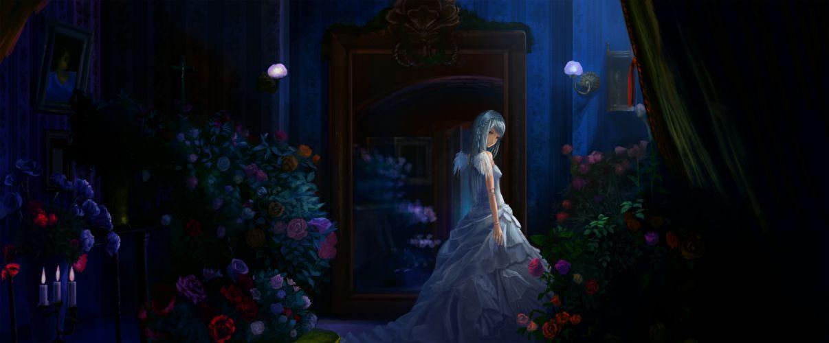 rozen maiden dress flowers gray hair night red eyes rose rozen maiden suigintou wings multi dual wallpaper