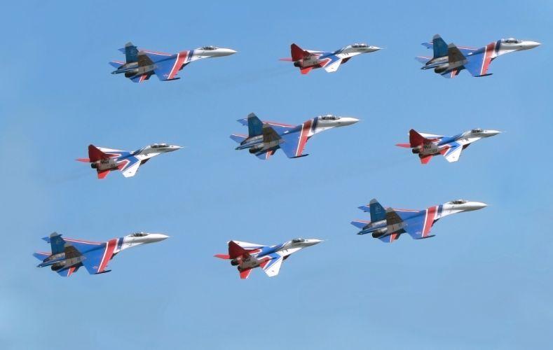 su-27 Swifts Russian Knights jet jets military wallpaper