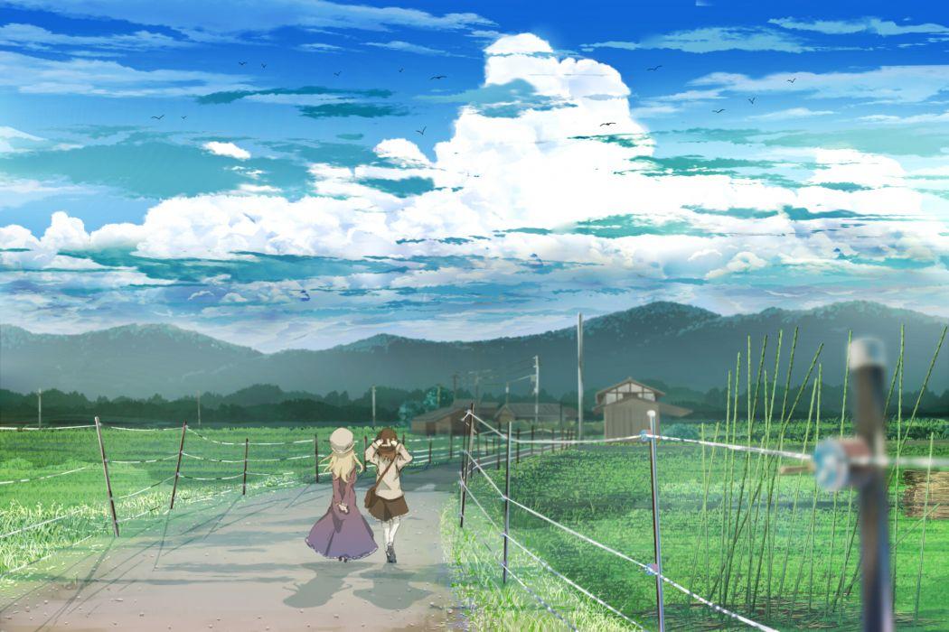 touhou girls clouds grass landscape maribel han scenic shinta sky touhou usami renko wallpaper