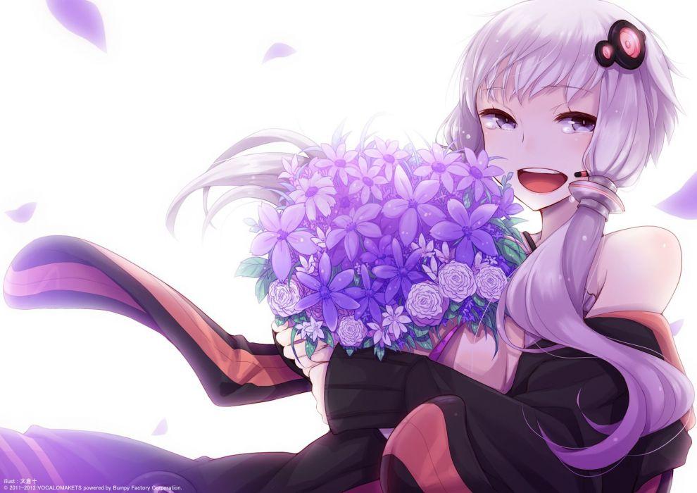 vocaloid ayakura juu flowers long hair purple eyes purple hair twintails vocaloid voiceroid yuzuki yukari wallpaper