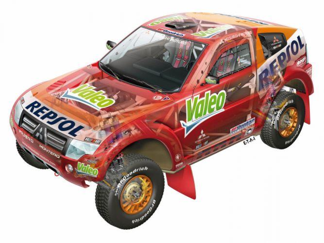 2007 Mitsubishi Pajero Montero Evolution MPR13 Dakar race racing suv offroad interior engine wallpaper