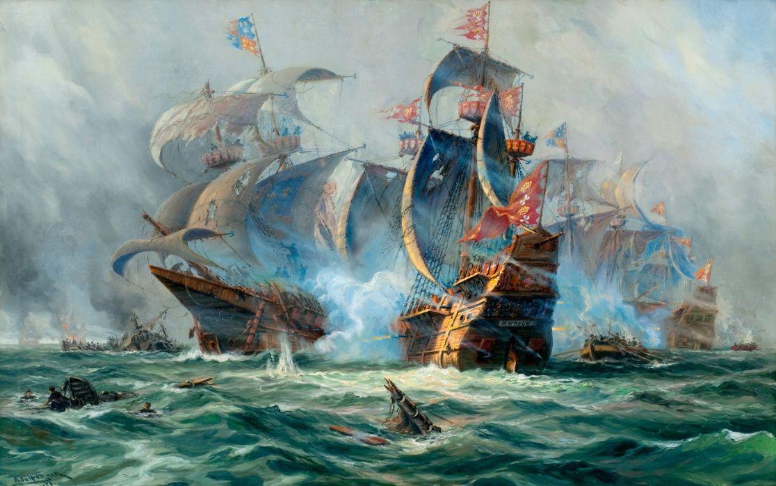 art Ships Sailing battle ocean painting ship wallpaper