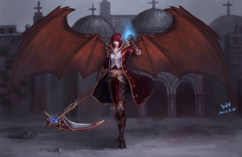 Art demon man scythe skull magic city fantasy dark wallpaper