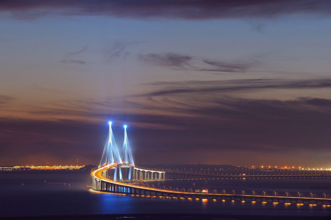 Asia South Korea Incheon Songdo bridge lighting exposure lights night sky clouds wallpaper