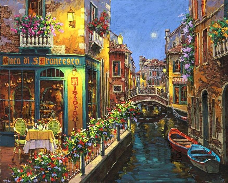 City  Fred Swan  painting  drawing  bridge  canal  boats  water  building bokeh mood wallpaper