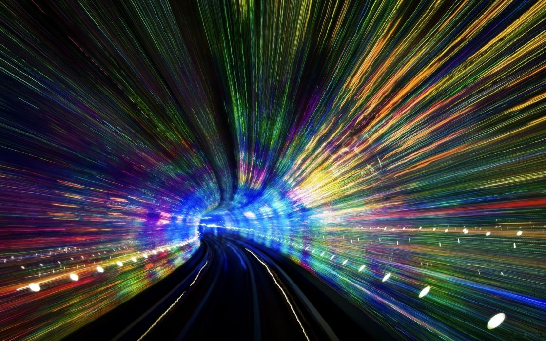 color tunnel road lights exposure psychedelic abstract wallpaper