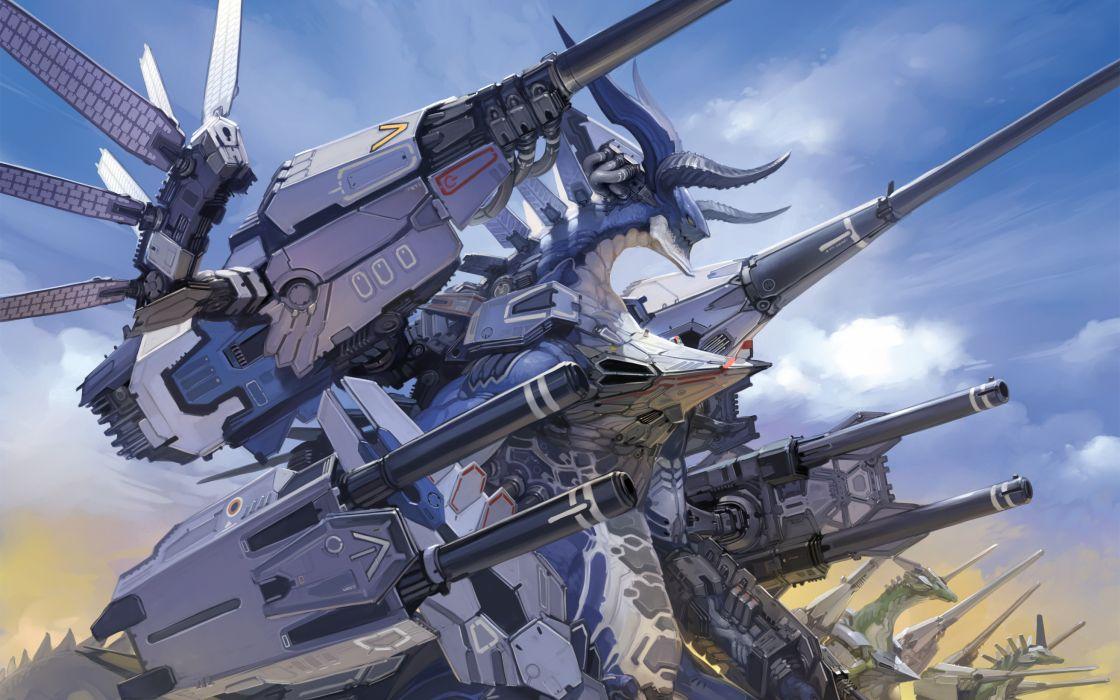 Dragons  armor  guns  clouds  mechanics mecha wallpaper