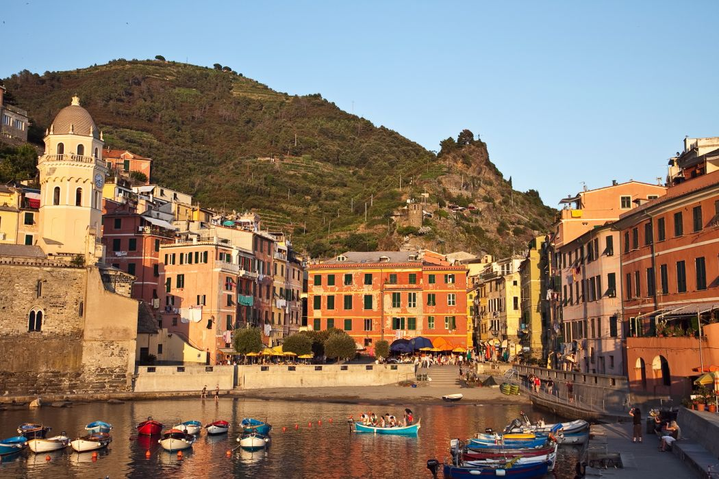 Italy Houses Mountains Boats Vernazza Liguria Cities wallpaper