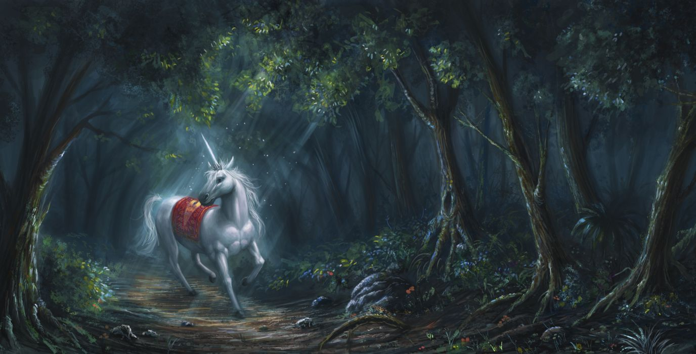 Magical animals Unicorns Forests Fantas Unicorn wallpaper