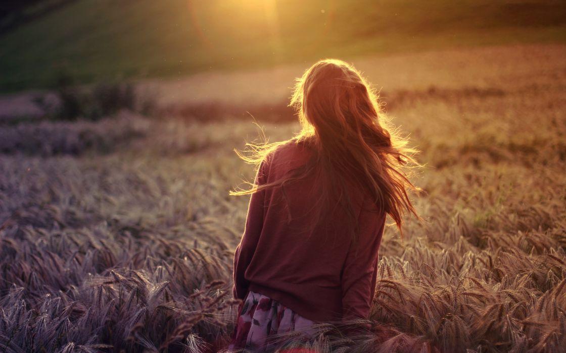 mood girl brunette nature field plants rye wheat sun rays wallpaper