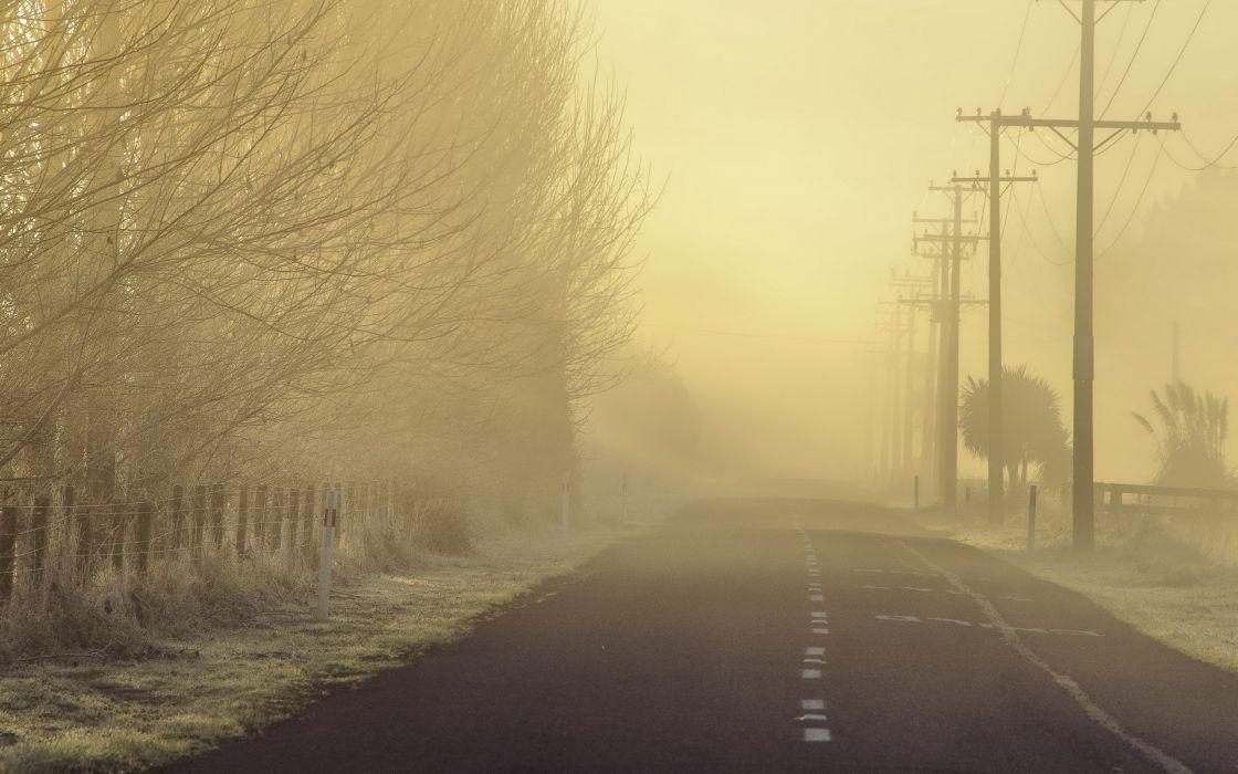 morning road fog landscape mood wallpaper
