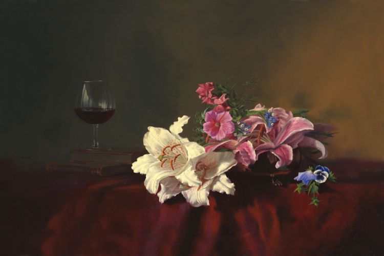 painting still life Alexei Antonov flowers lilies books glass wine table tablecloth wallpaper