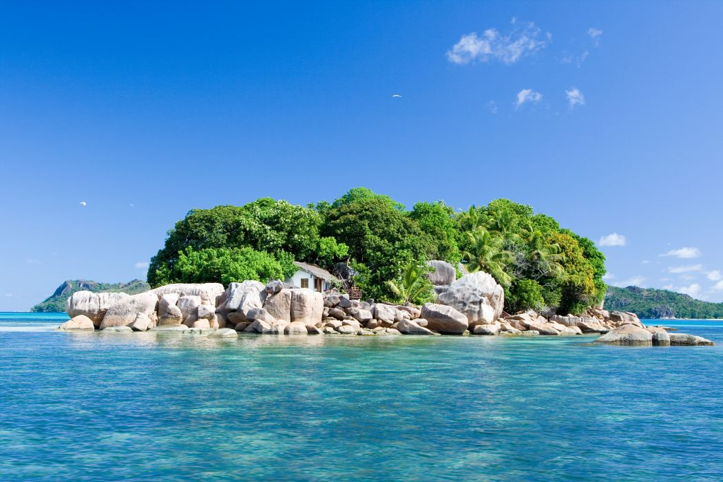 ocean  island  house  landscape  nature  Seychelles wallpaper
