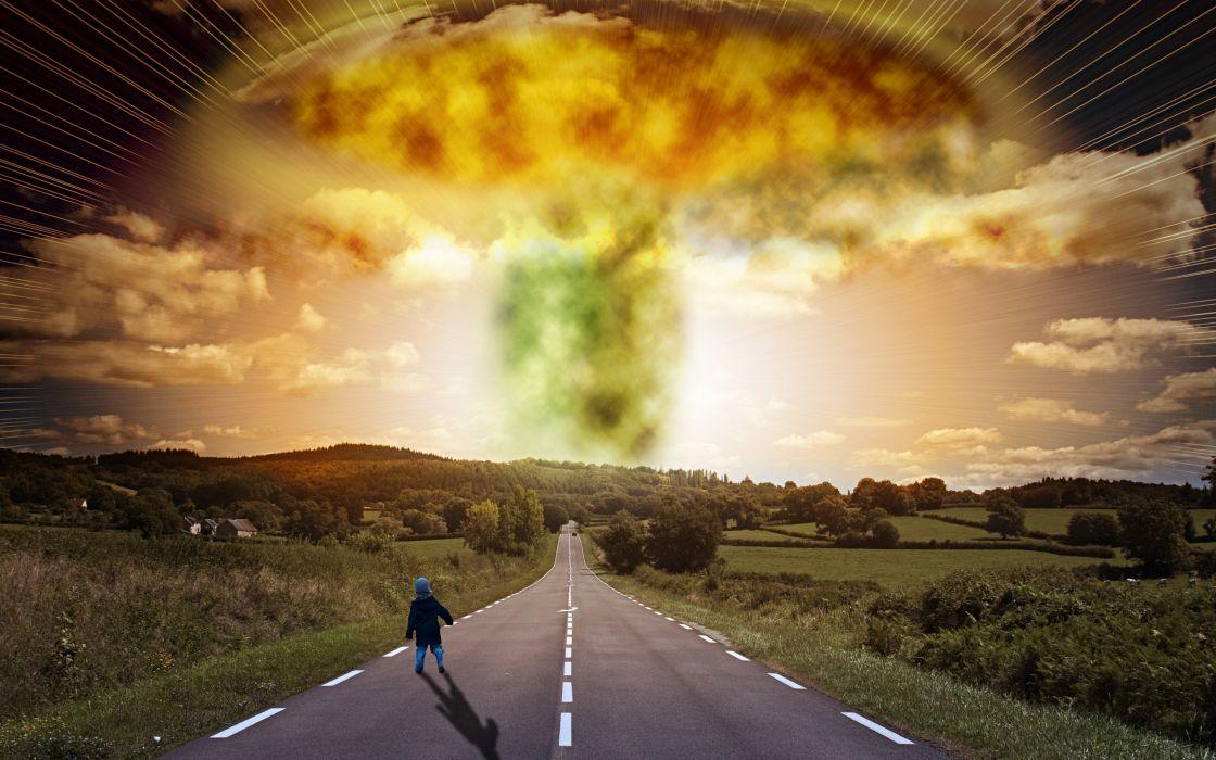 road child explosion apocalypse signs houses trees apocalyptic nuclear radiation bomb wallpaper