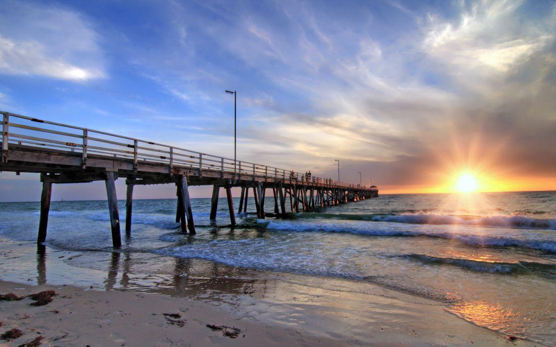 South Australia Adelaide Grange Sea Bridge Landscape Ocean Waves Beach