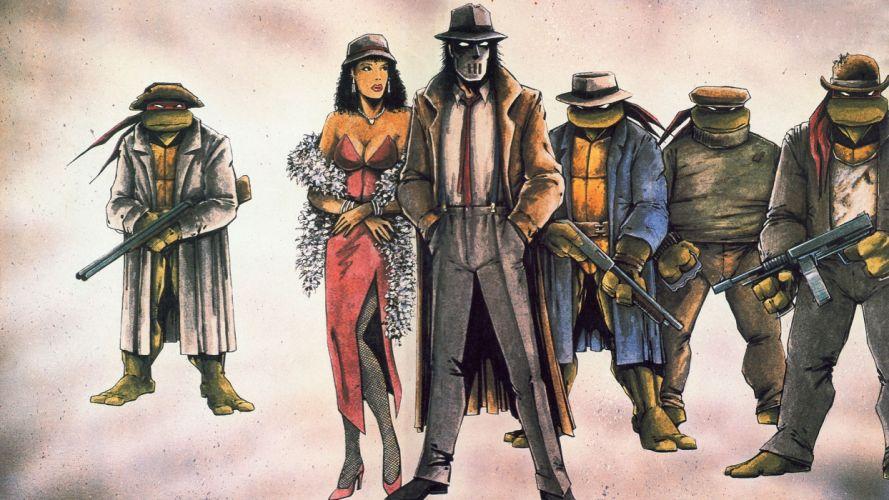 Teenage Mutant Ninja Turtles Assault rifle Painting Art Cartoons wallpaper