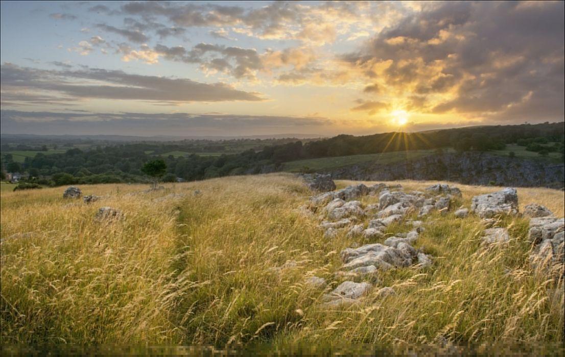 England grass rocks sunset landscape wallpaper