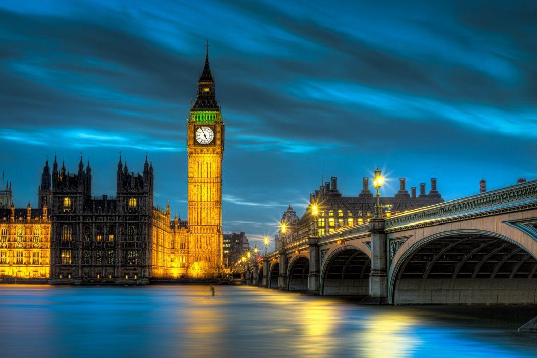 Big Ben Westminster Palace London England UK lighting lights lights bridge water river exposure timelapse reflection wallpaper