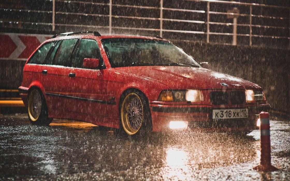 BMW e36 Touring red BBS rain tuning wallpaper