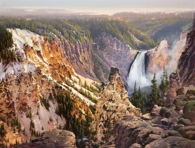 Bruce Cheever Falls Yellowstone painting nature mountain mountains waterfall wallpaper