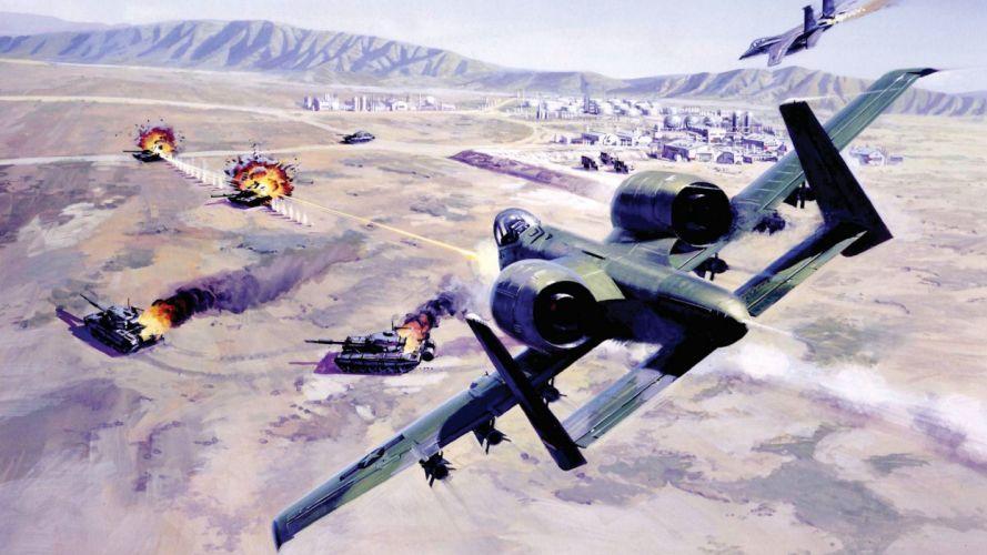 Fairchild Republic A-10 Thunderbolt II attack aircraft f-15 eagle war drawing attack military wallpaper