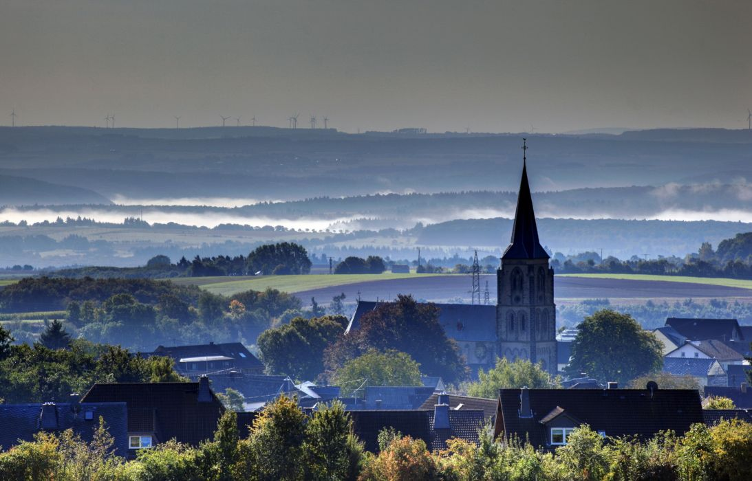 Germany  town  houses  Landkern  horizon  fog wallpaper