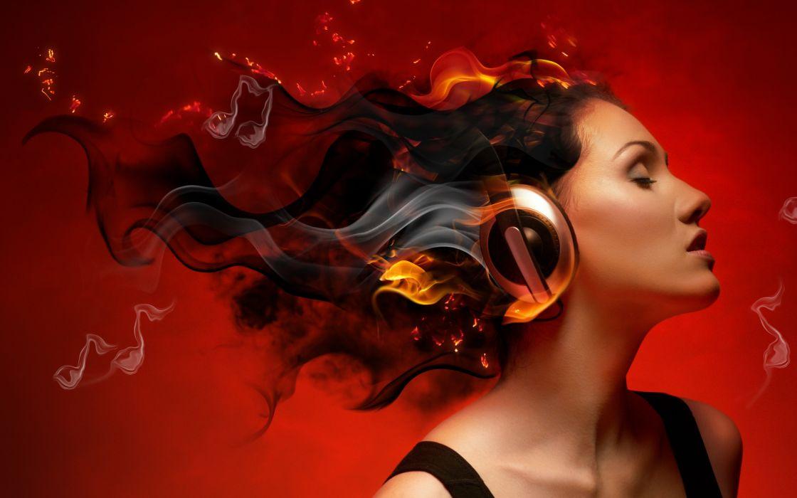 girl  profile  creative  headphones  smoke  fire  charm wallpaper