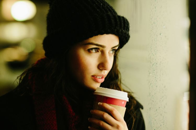 Girl coffee smile view cap winter drink mood face wallpaper