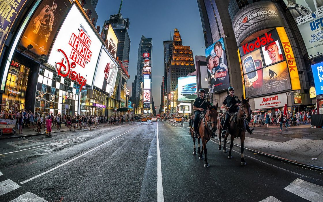 New York  city  night road night lights horse horses crowd police wallpaper