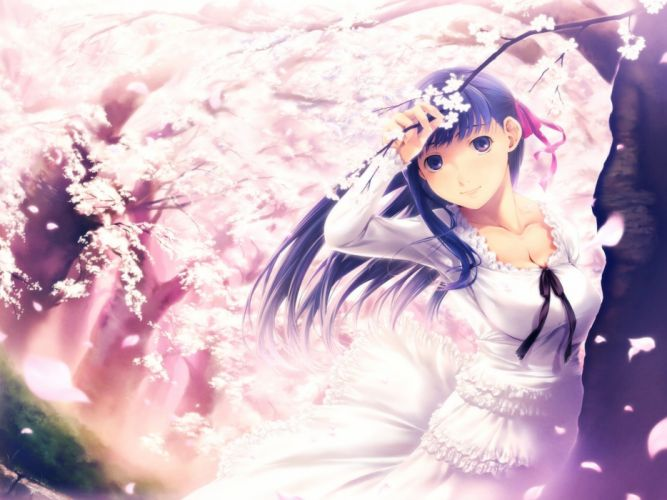 original girl flowers petals smile wind wallpaper