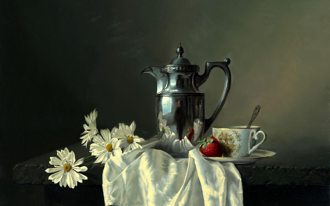 Still Life Alexei Antonov table picture coffee pot strawberry strawberries wallpaper