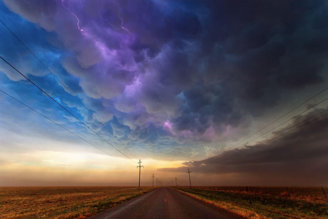 texas usa road storm clouds rain lightning sky wallpaper