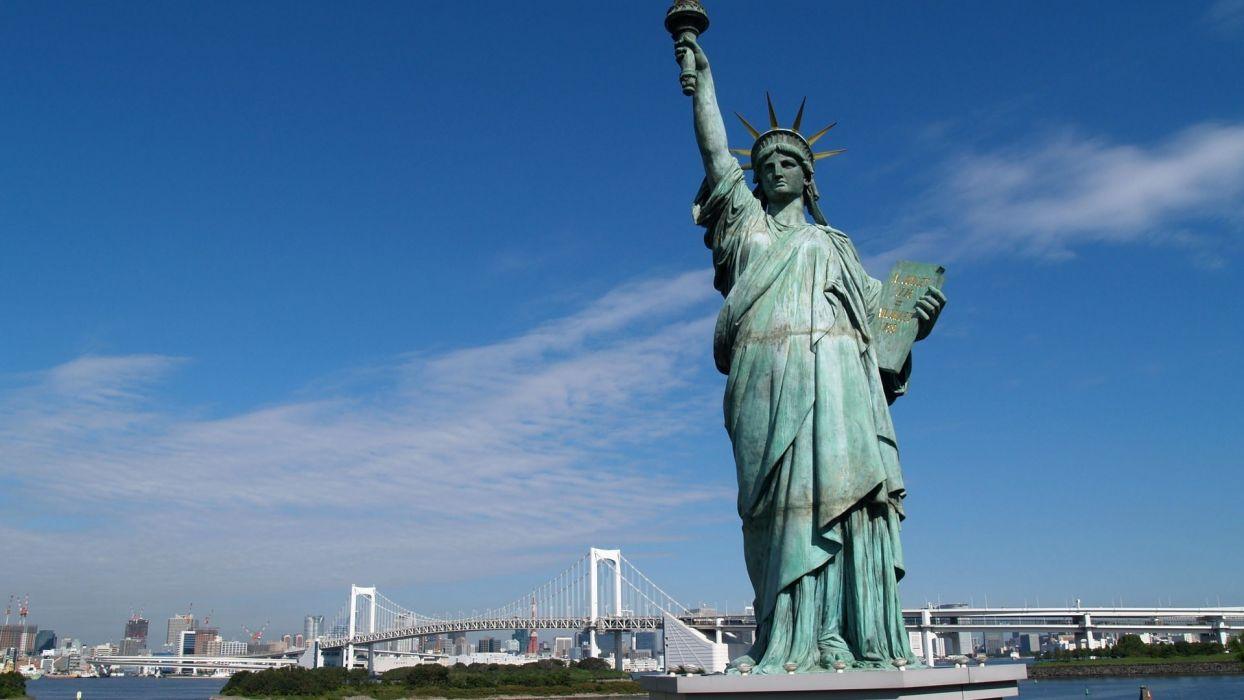 Statue of Liberty Statue New York Bridge wallpaper