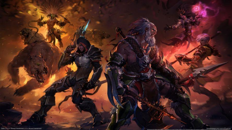 Diablo III Warriors Men Armor Games warrior fantasy magic battle wallpaper