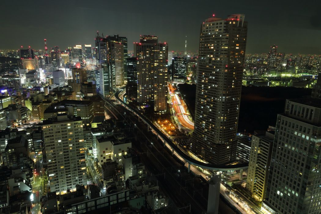 Japan Houses Skyscrapers Tokyo Night wallpaper