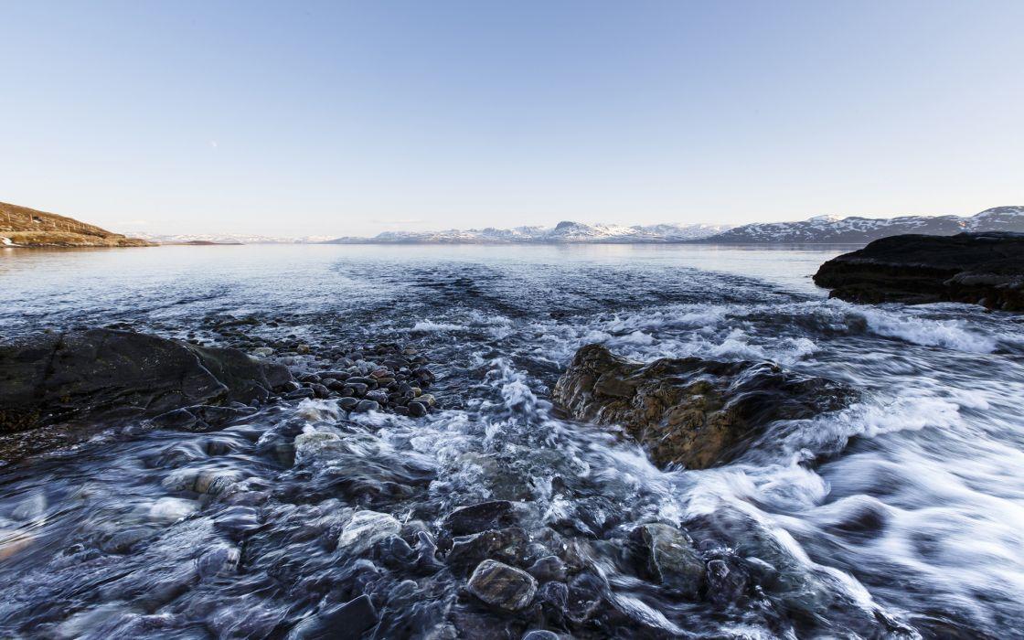 Ocean Rocks Stones Landscape ice winter wallpaper