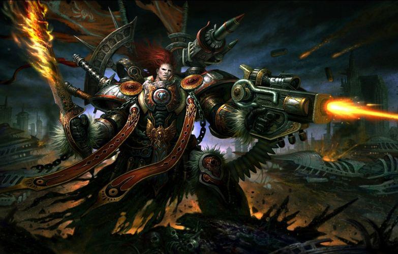 Warhammer 40000 Warriors Assault rifle Armor Games warrior sci-fi fantasy dark wallpaper