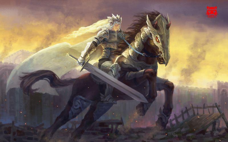 Warriors Horses Swords Armor Fantasy Warrior Sword wallpaper
